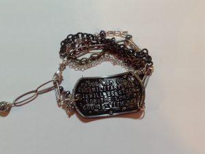 reverse side, dog tag bracelet