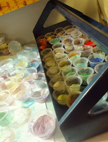 My working tray of enamel powders. Lots of colors to choose from.